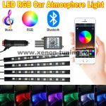 Kit 4 Lumini Ambientale RGB cu Aplicatie Telefon Bluetooth, 12V, 9 LED, 17 cm LAL-9