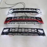 Grila fata cu lumini de zi DRL negru cu rosu TRD Toyota Hilux Revo 2015, 2016, 2017, 2018, 2019 THR15FGL