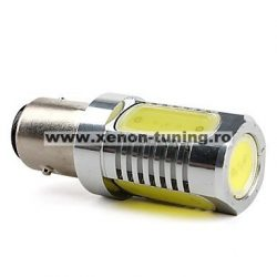Led auto Rosu BA15D High Power cu dubla intensitate si pini simetrici la 180 grade