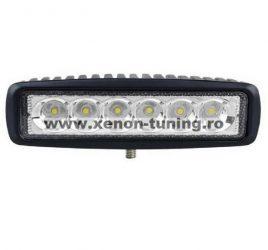 Proiector LED Auto Offroad 18W/12V-24V, 1320 Lumeni, Lungime 16 cm, Flood Beam 60 Grade
