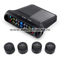 Sistem 4 senzori monitorizare presiune pneuri TPMS cu LCD si incarcare solara P802-E