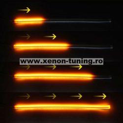 Lumini de zi cu semnalizare dinamica / secventiala tip Tub Neon Flexibil 45 cm DRL-45AG-FLOW