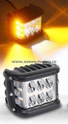 Proiector LED Lumina Alb + Galben Dreptunghiular 60W/12V-24V, 5100 Lumeni, Spot Beam