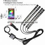 Kit 4 Lumini Ambientale RGB cu Aplicatie Telefon Bluetooth, 12V, 12 LED, 22 cm LAL-12
