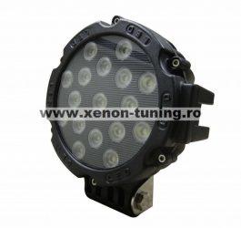 Proiector LED Auto Offroad 51W/12V-24V, 3740 Lumeni, Negru, Flood Beam 60 Grade