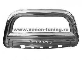 Bullbar inox cu scut Mitsubishi L200 Triton 2015, 2016, 2017, 2018, 2019  Ø90mm MTA647